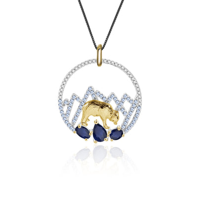 Blue Sapphire Polar Bear 925 Sterling Silver Necklace With Gold Plated Details