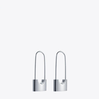 Lock Earrings Stainless Steel Silver Plated