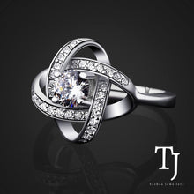 Load image into Gallery viewer, TJ | Sofia Vergara | Love Knot Diamond Sterling Silver Adjustable Ring