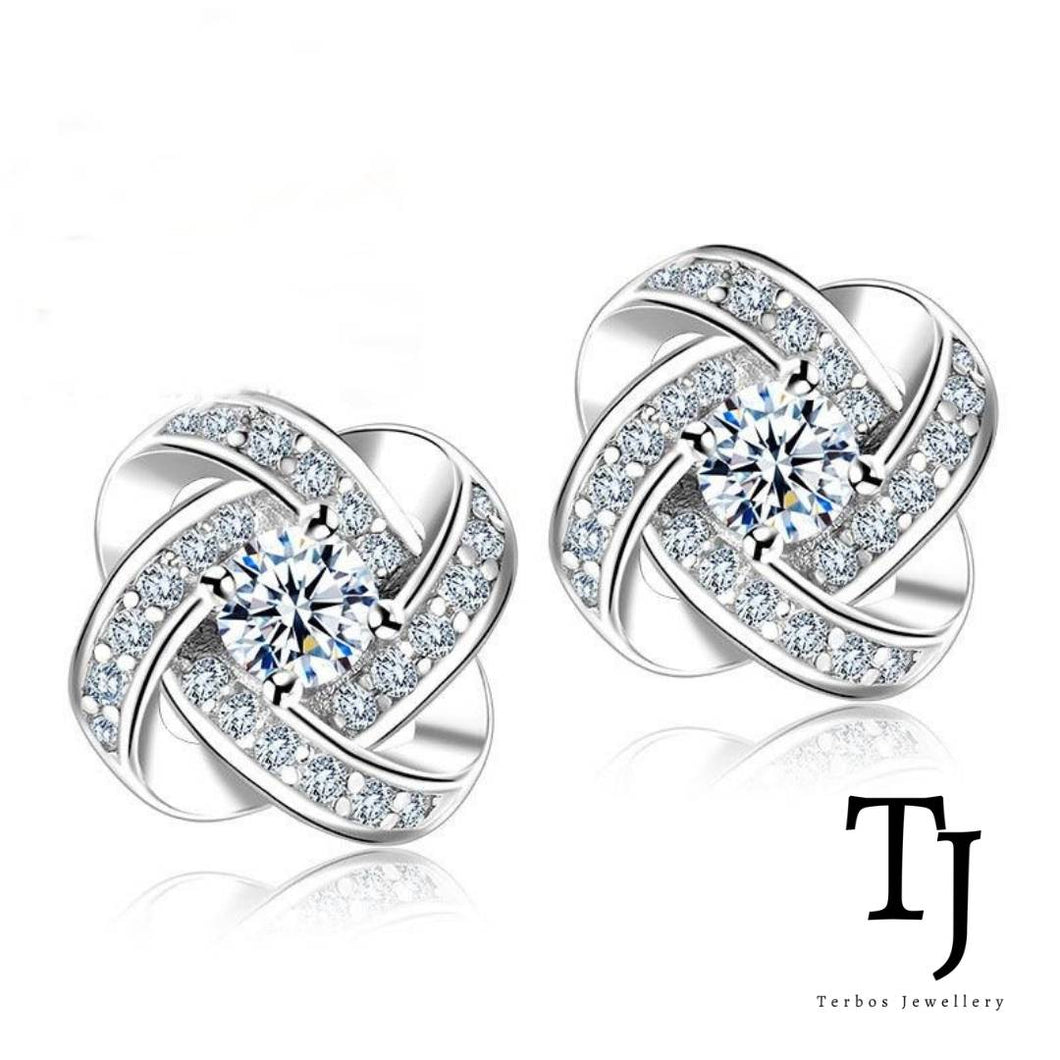 TJ | Sofia Vergara | Love Knot Diamond Sterling Silver Stud Earrings
