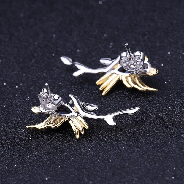 Blue Sapphire Bird 925 Sterling Silver Earrings With Gold Plated Details