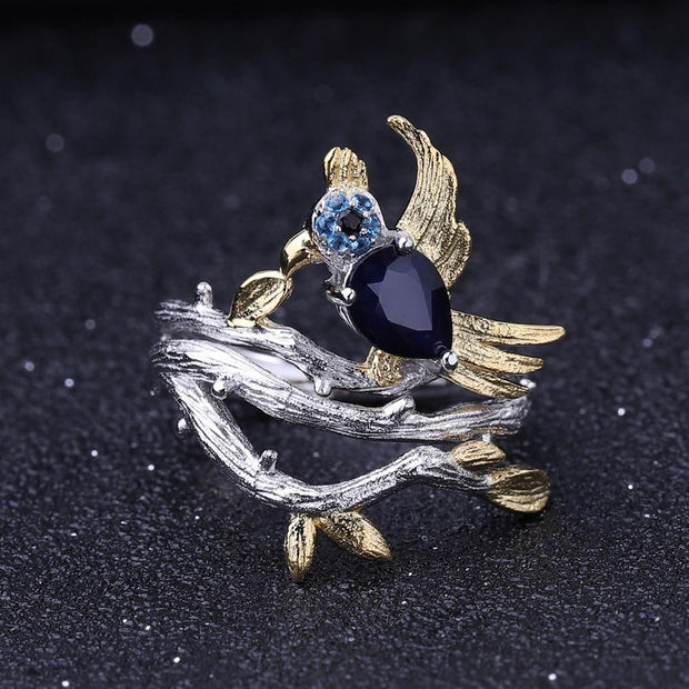 Blue Sapphire Bird 925 Sterling Silver Ring With Gold Plated Details