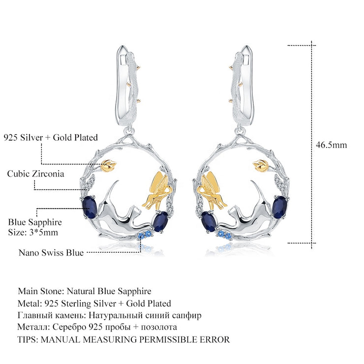 Blue Sapphire Cat 925 Sterling Silver Earrings With Zircon And Gold Plated Details