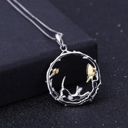 Blue Sapphire Cat 925 Sterling Silver Necklace With Zircon And Gold Plated Details
