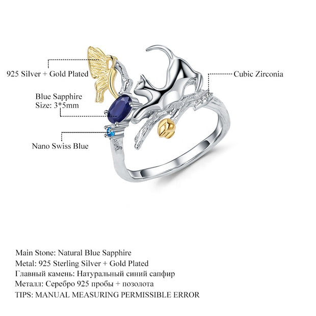 Blue Sapphire Cat 925 Sterling Silver Ring With Zircon And Gold Plated Details