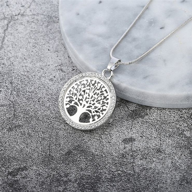 Tree Of Life Necklace With CZ Diamonds - Silver