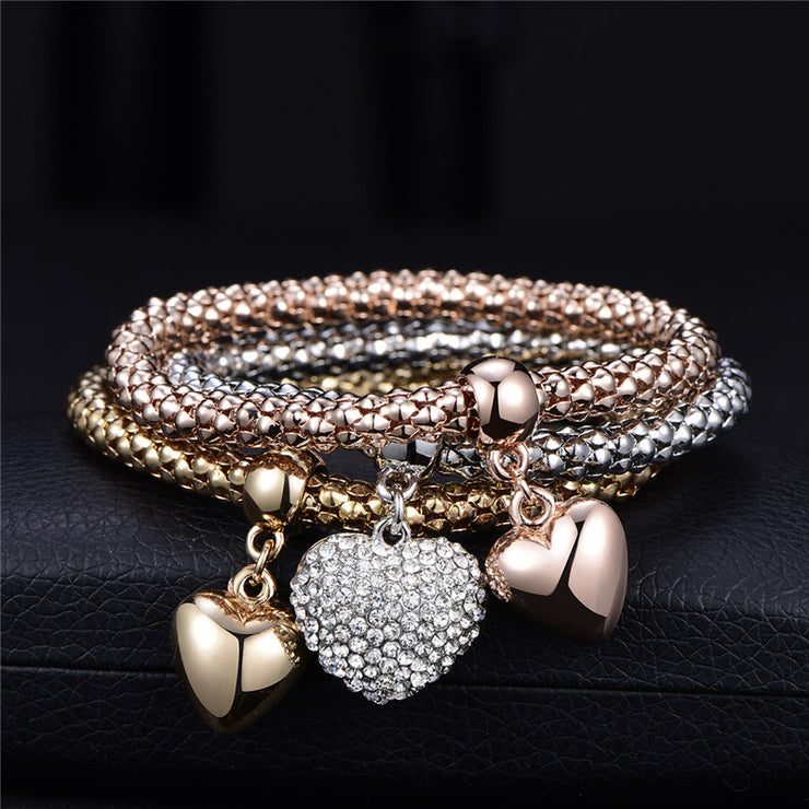 3 Pieces Heart Bracelet With Crystals