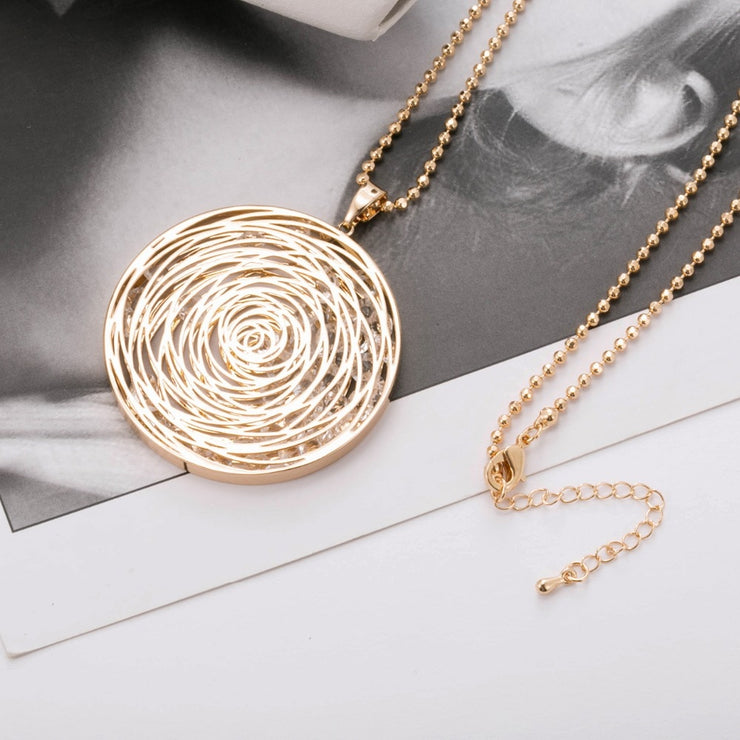 Circled Stones Necklace With CZ Diamonds - Rose Gold