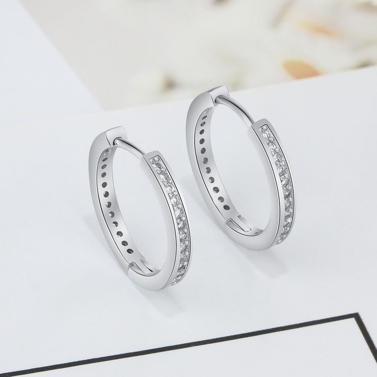 925 Sterling Silver Hoop Earrings With Paved CZ Diamonds