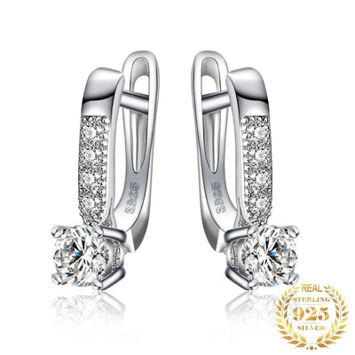 Luxury Hoop 925 Sterling Silver Earrings With CZ Diamonds