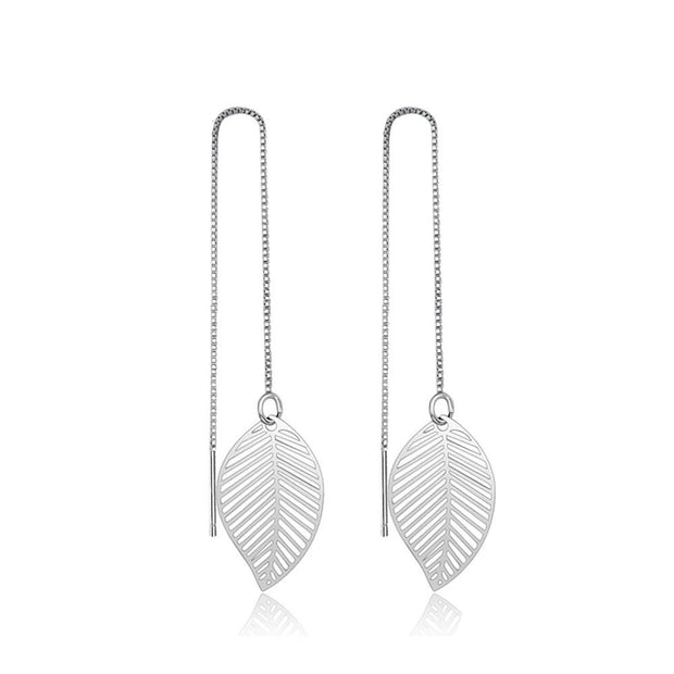 Long Leaf 925 Sterling Silver Leaf Earrings