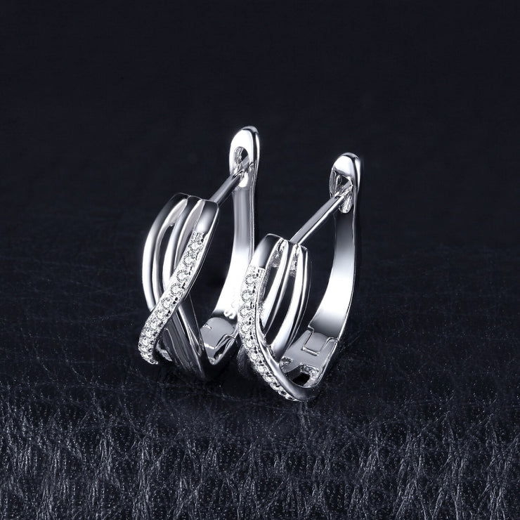 Infinity 925 Sterling Silver Earrings With CZ Diamonds