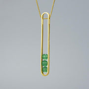 Elliptical Green Aventurine 18K Gold Plated 925 Sterling Silver Necklace For Women