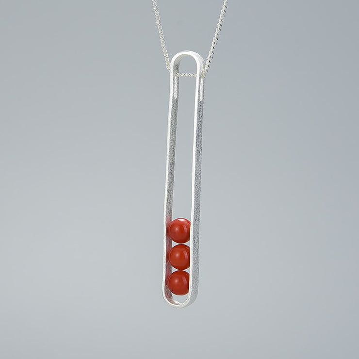 Elliptical Red Aventurine 18K Gold Plated 925 Sterling Silver Necklace For Women