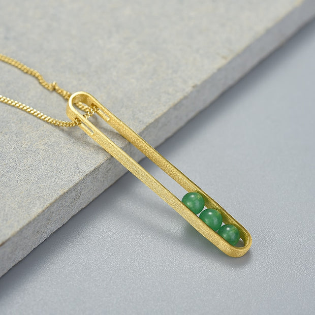 Elliptical Green Aventurine 18K Gold Plated 925 Sterling Silver Necklace For Women Another Setup