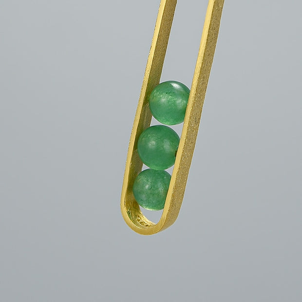 Elliptical Green Aventurine 18K Gold Plated 925 Sterling Silver Necklace For Women Close Up