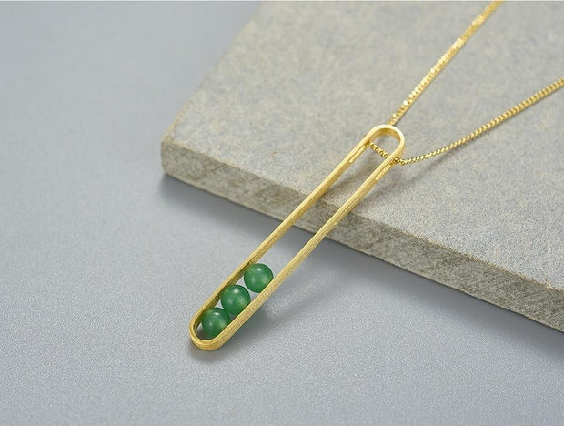 Elliptical Green Aventurine 18K Gold Plated 925 Sterling Silver Necklace For Women Setup