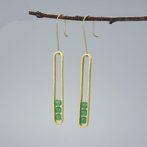 Elliptical Green Aventurine 18K Gold Plated 925 Sterling Silver Earrings For Women Hanged On A Branch