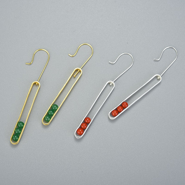 Elliptical Green And Red Aventurine 18K Gold Plated 925 Sterling Silver Earrings For Women Together