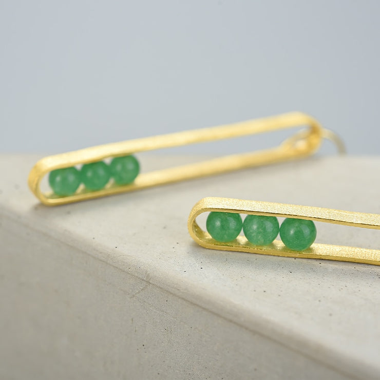 Elliptical Green Aventurine 18K Gold Plated 925 Sterling Silver Earrings For Women Close Up