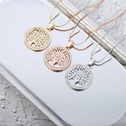 Tree Of Life Necklace With CZ Diamonds - Rose Gold