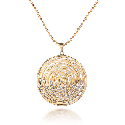 Circled Stones Necklace With CZ Diamonds - Gold