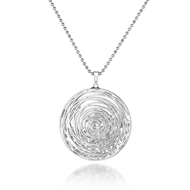 Circled Stones Necklace With CZ Diamonds - Silver