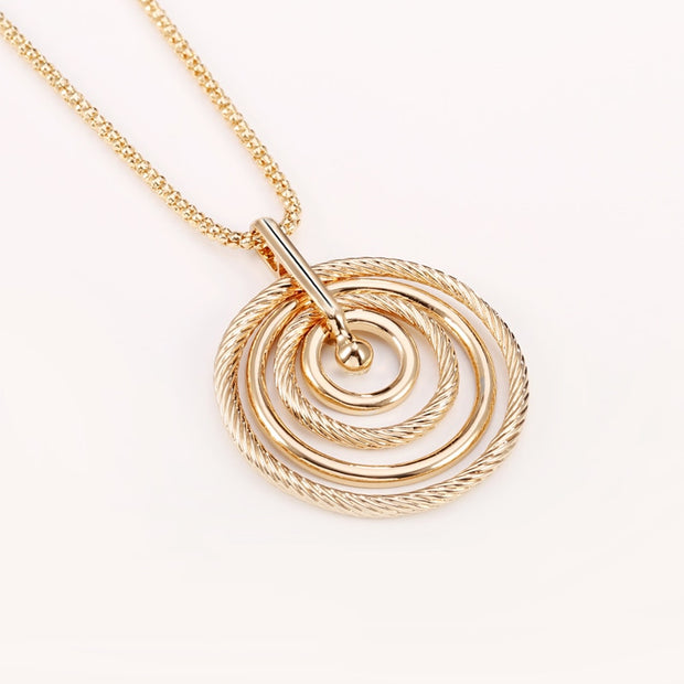 Big Circles Long Necklace With CZ Diamond - Gold
