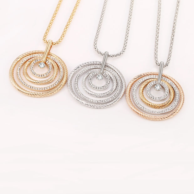 Big Circles Long Necklace With CZ Diamond - Silver