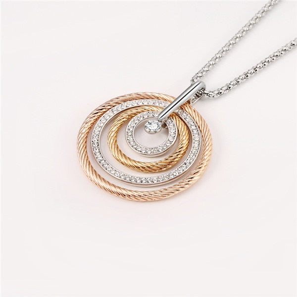 Big Circles Long Necklace With CZ Diamond - Silver/Gold/Rose Gold