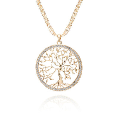Large Tree Of Life Necklace With Gold Pendant And Zircon For Women