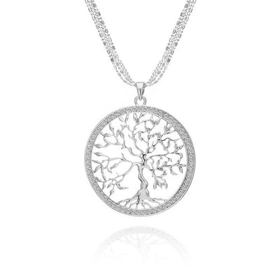 Large Tree Of Life Necklace With Silver Pendant And Zircon For Women