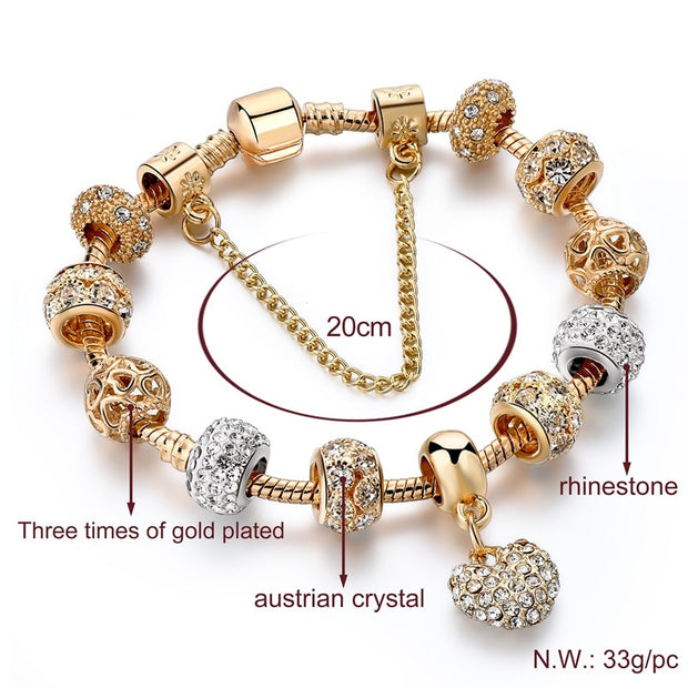 Charm Bracelet With Heart Beads