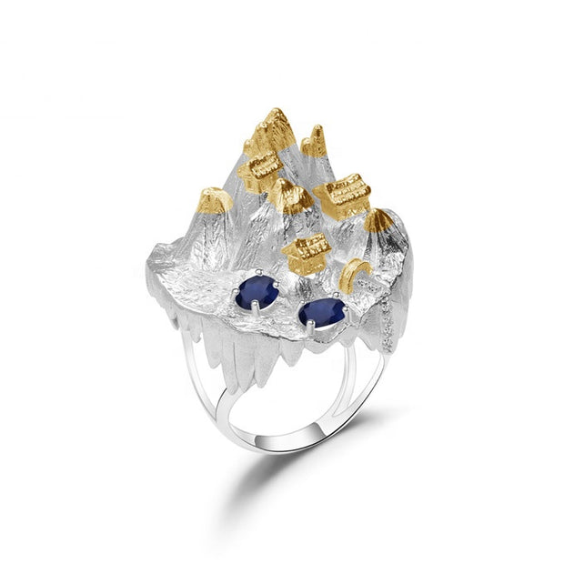 Blue Sapphire Mountain Temples 925 Sterling Silver Ring With Gold Plated Details