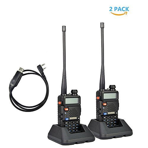 2Pack Baofeng UV-5R MHz Ham Two-way Radio + Programming Usb Cable + Software Disk Kit(Black)
