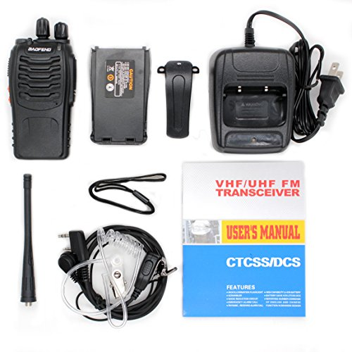 BaoFeng BF-888S Two Way Radio with LED Flashlight (Pack of 6) +Covert Air Acoustic Tube Headset Earpiece