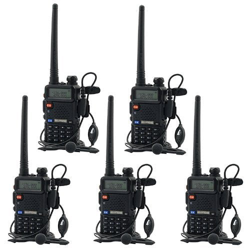 BaoFeng UV-5R UHF VHF Dual Band Two Way Radio Walkie Talkie with 5 Earpieces + 1 Programming Cable, 5 Pack