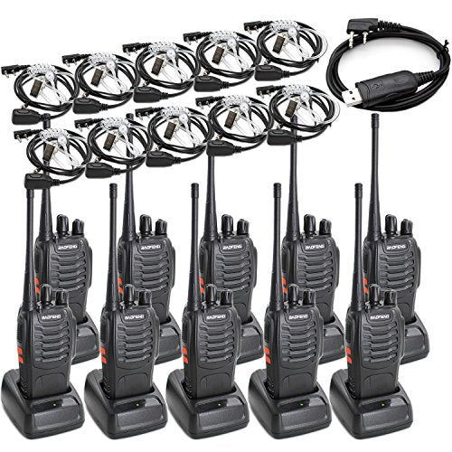 Baofeng BF-888S Two Way Radio Long Range 16 CH Radio&Covert Air Acoustic Tube Earpiece (Pack of 10)