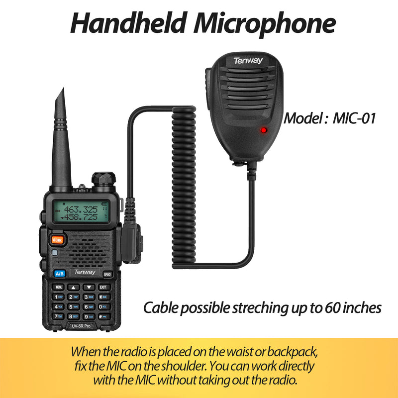 Ham Radio UV-5R Pro Dual Band Two Way Radio with More 3800mAh Battery and Handheld MIC and NA-771 Antenna and USB Programming Cable