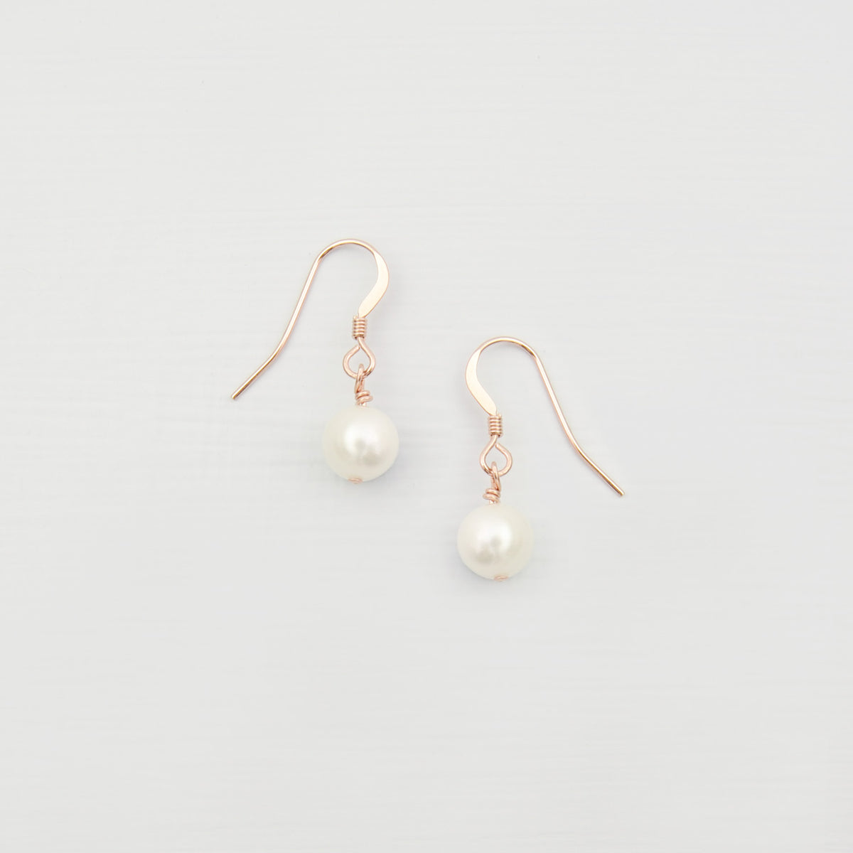 freshwater pearl drop earrings rose gold filled