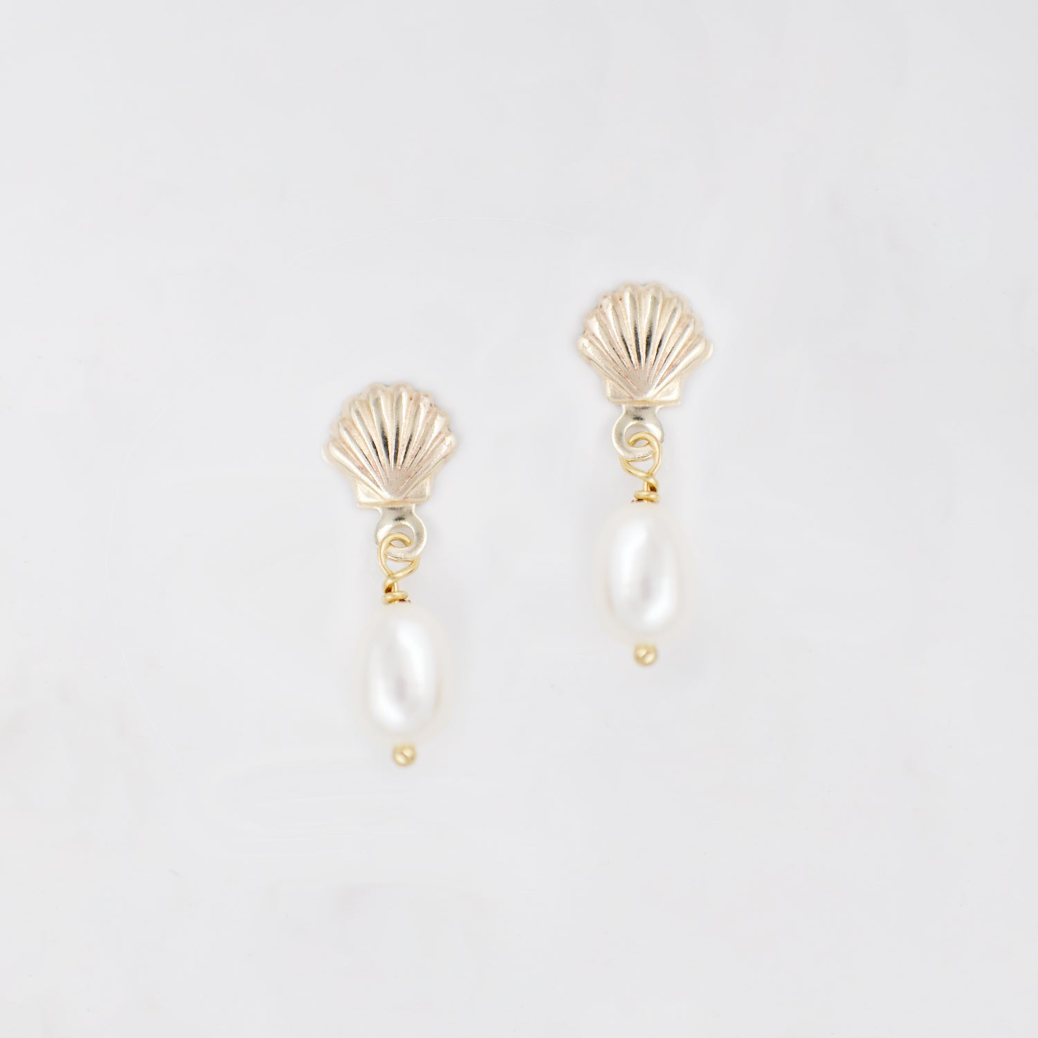 shell earrings with pearl drop