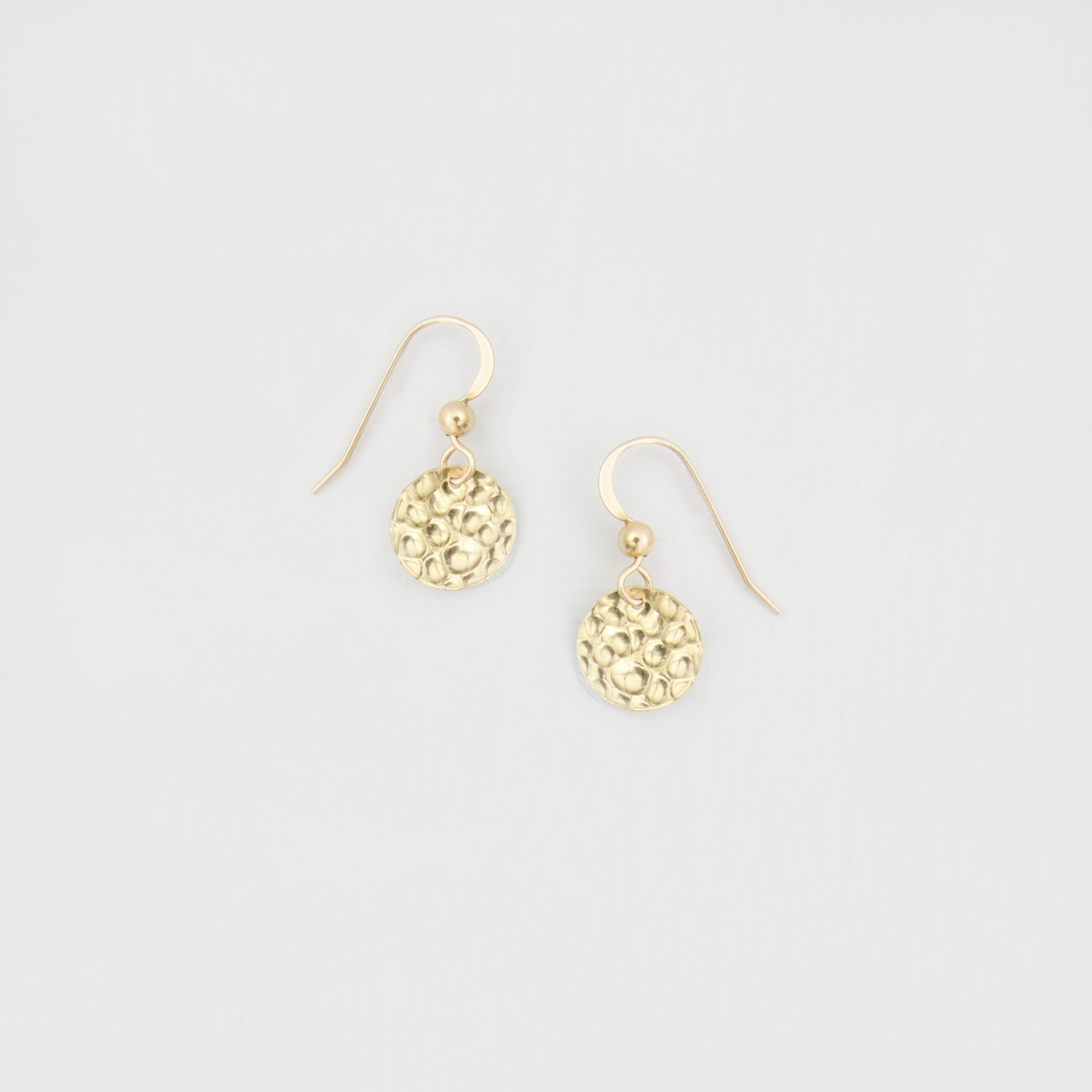 hammered disk earrings gold