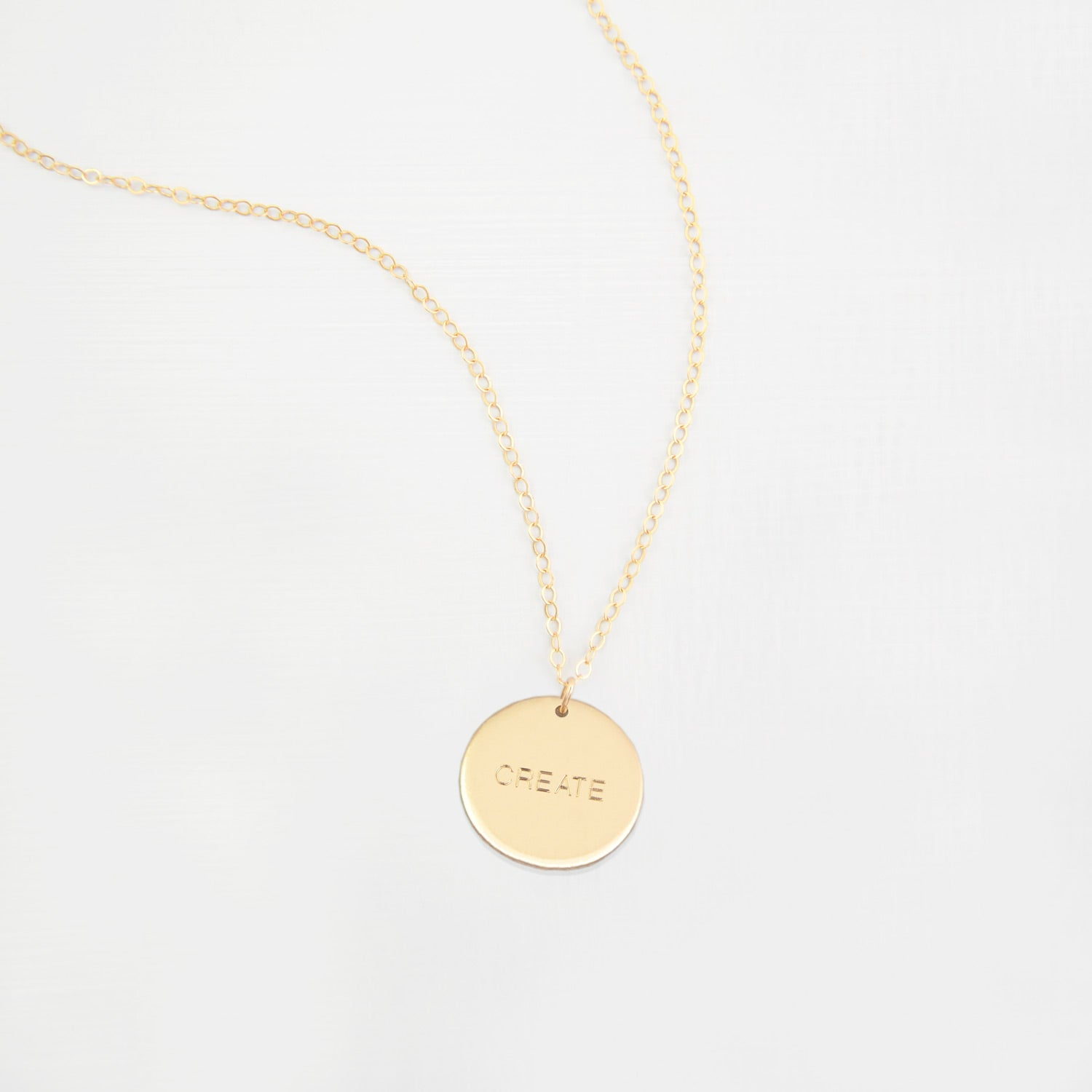 Personalised large disk 'inspiration' necklace