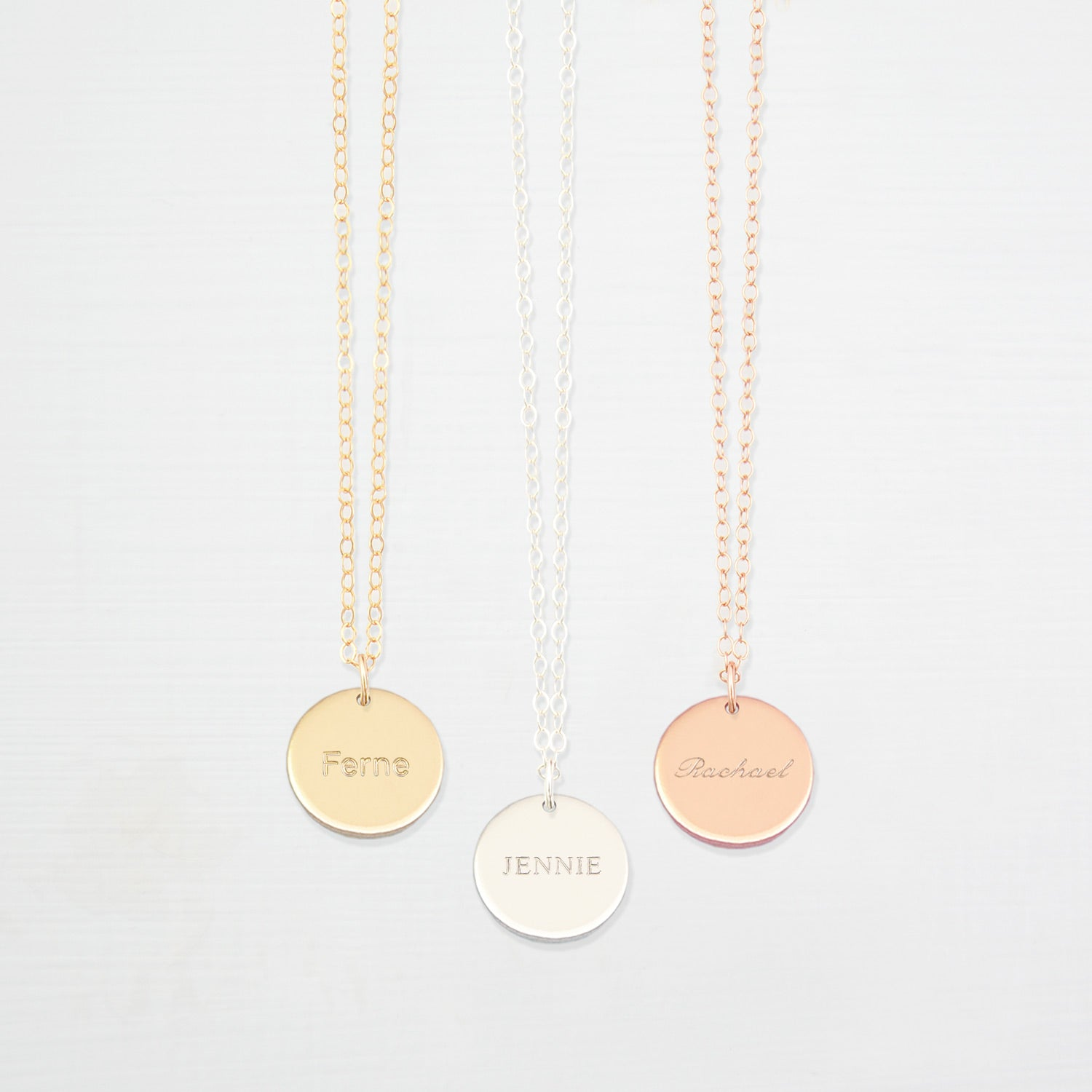 Personalised medium disk 'name' necklace