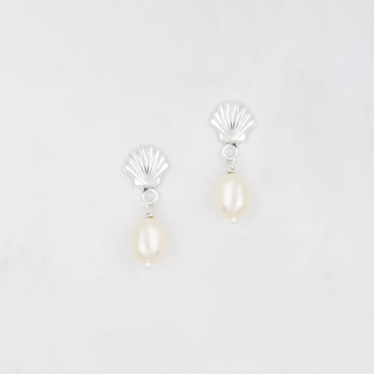 Shell stud earrings with freshwater pearl drop 'Ariel'
