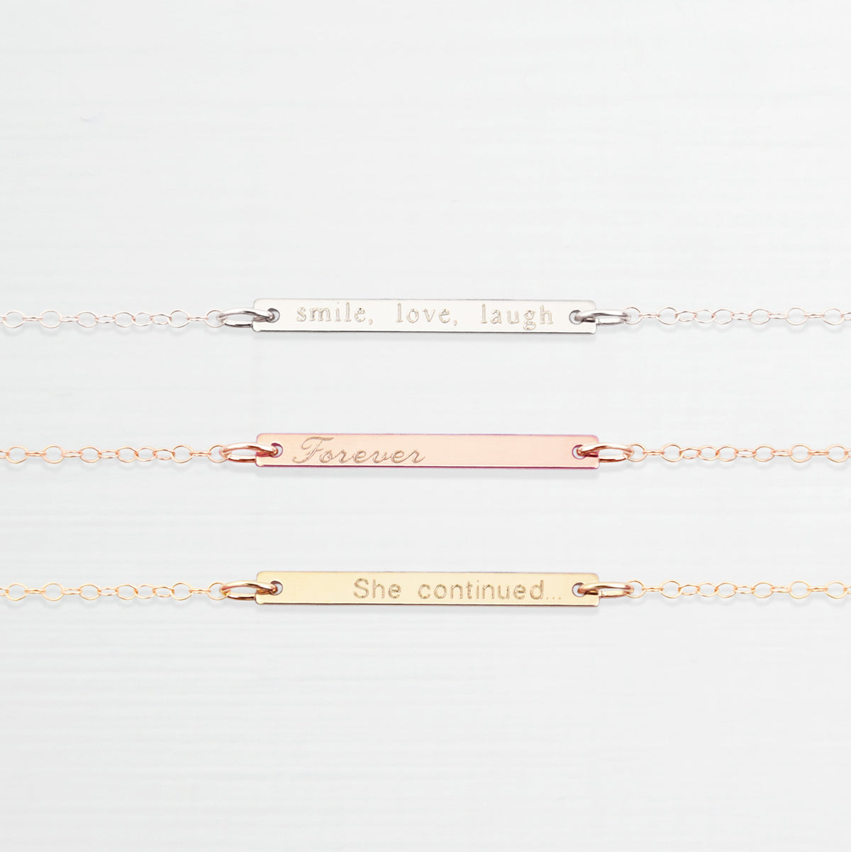Personalised 'inspirational' bar necklace 'Priya'