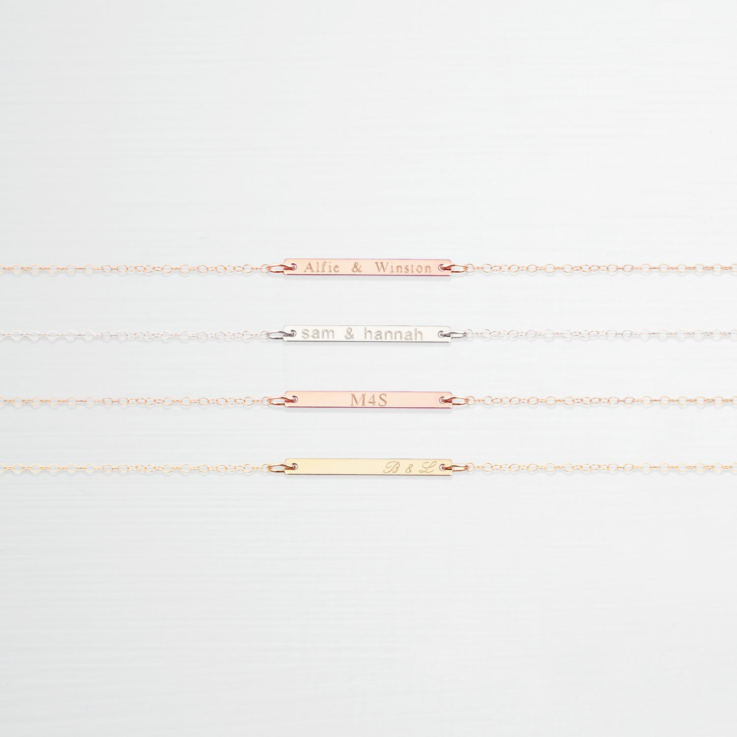 Personalised Jewellery Ideas for you Wedding Anniversary | Personalised Bar 'Love' Necklace 'Leonie'| Britten Anthology