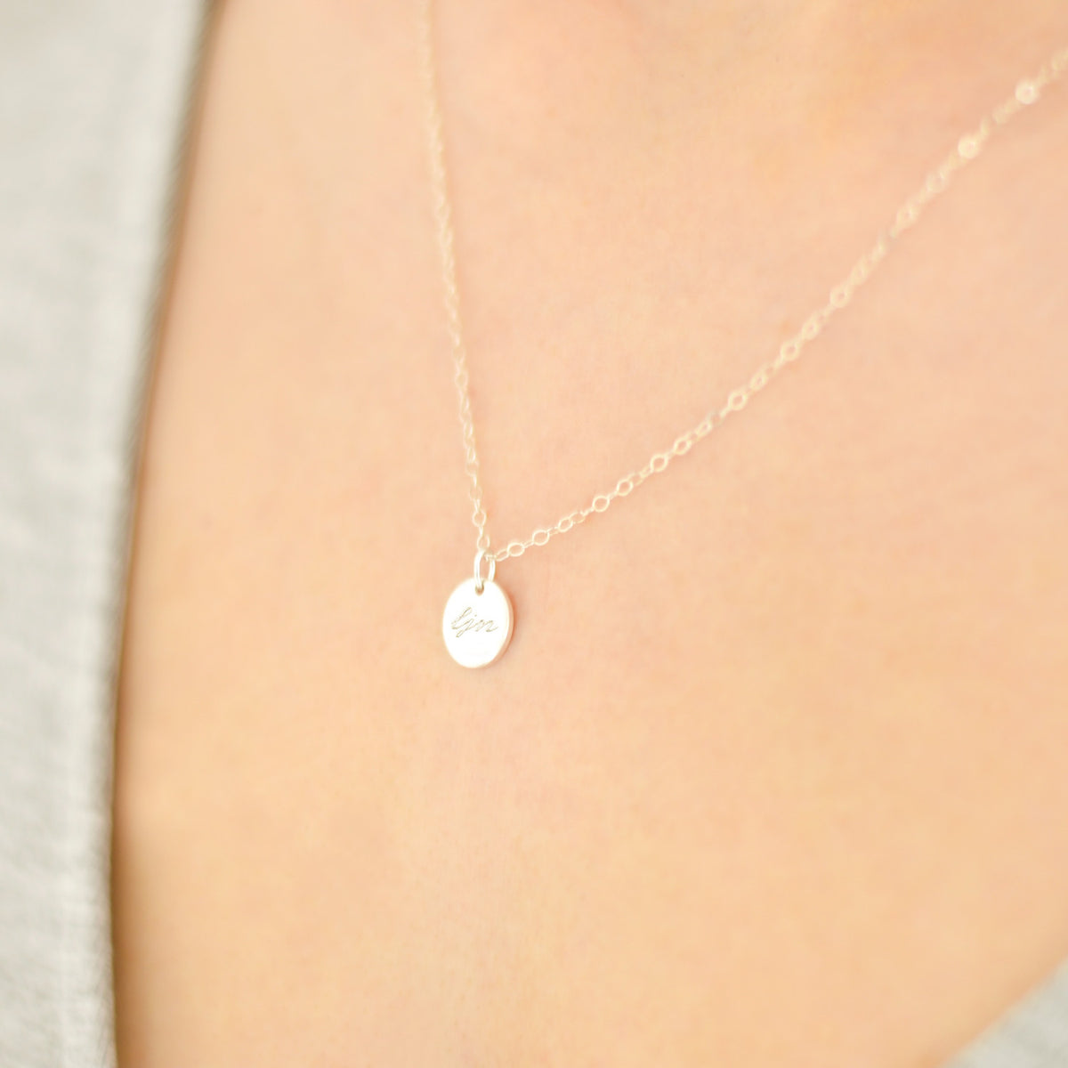 Personalised disc 'initial' necklace 'Bea'