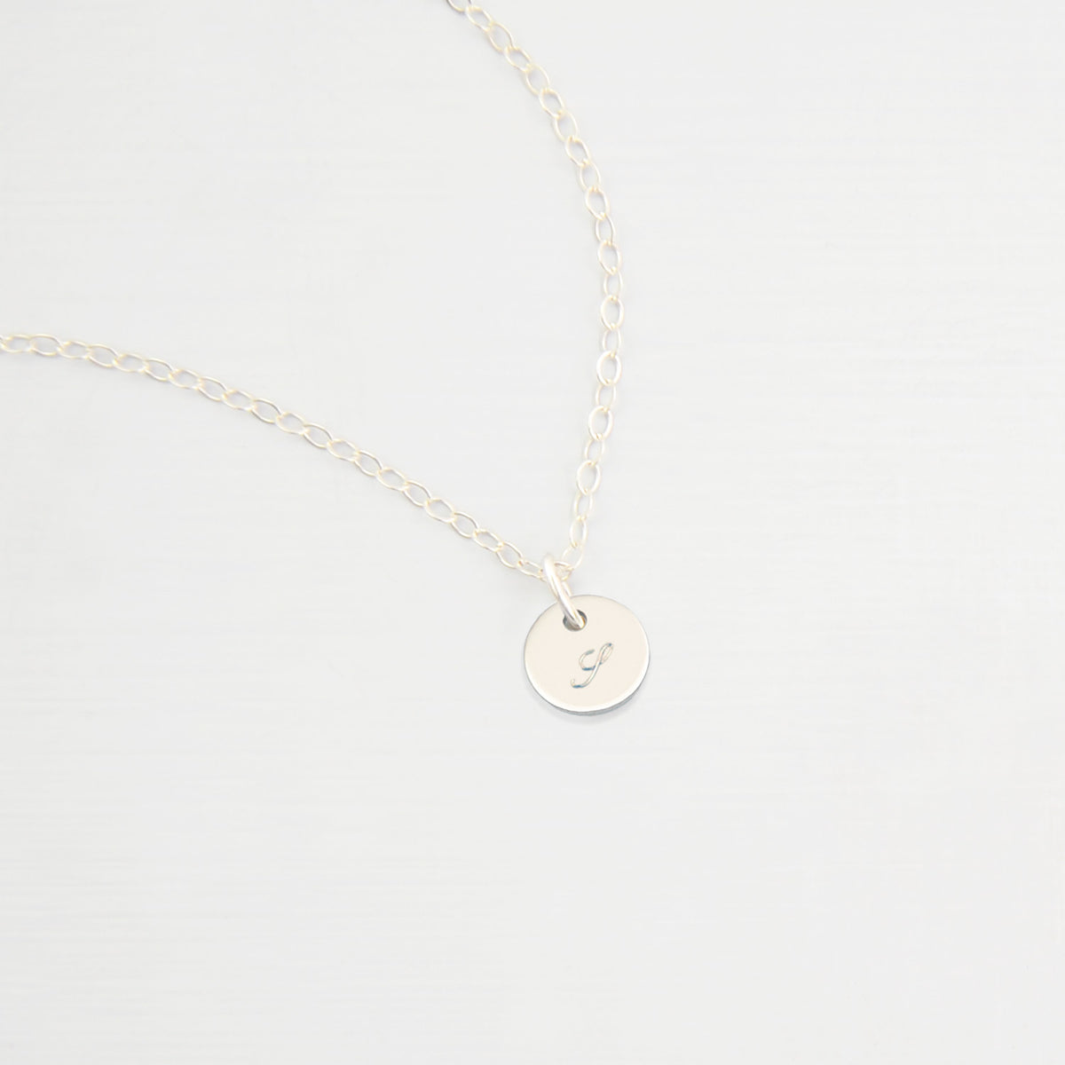 initial necklace tiny disk