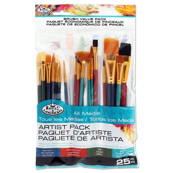 25Pce Artist Variety Brush Pack - All Media
